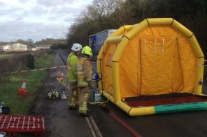 Fire crews attend 'corrosive acid' leak on A64